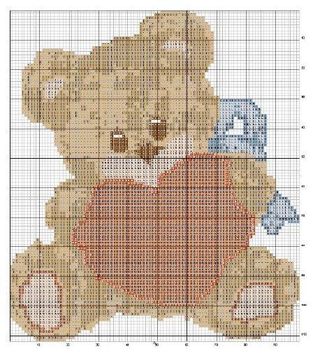 Schema punto croce orsetto cuore ricamo pinterest for Schema punto croce orsetto