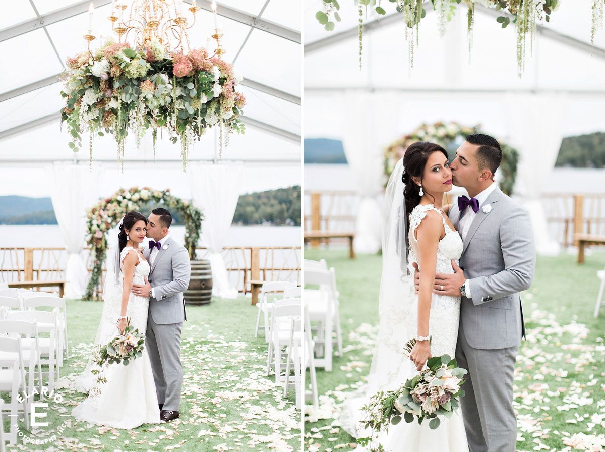 ceremony decor, hanging floral chandelier, aisle decor, floral arch, floral arbor #fleurtaciousdesigns -Elario Photography