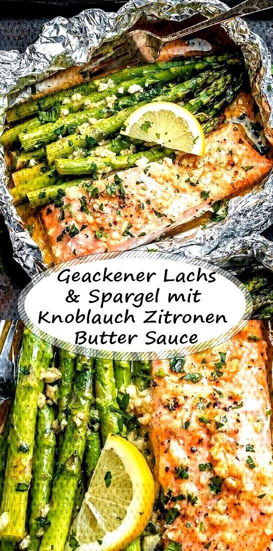 Baked salmon and asparagus with garlic lemon butter sauce - Baked salmon and asparagus with garlic