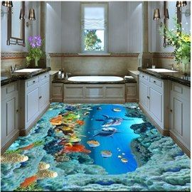 Aesthetic Dolphins And Beautiful Corals Under The Sea Waterproof Splicing Custom 3d Floor Murals Floor Murals Floor Wallpaper 3d Wallpaper For Walls