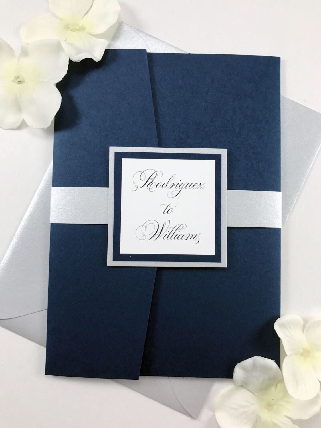 how to return address wedding envelopes%0A Classic Traditional Calligraphy Script Navy and Silver Wedding invitations   Elegant Flowy Script Navy White and
