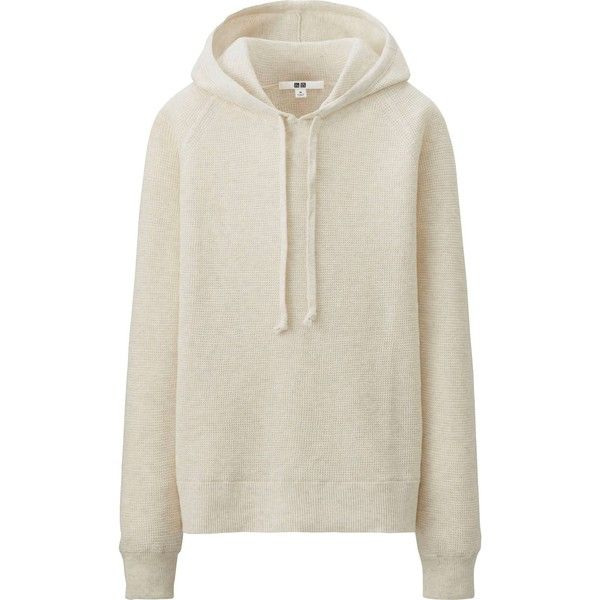 6d9f31cf UNIQLO Women Waffle Hooded Sweater ($15) ❤ liked on Polyvore featuring  tops, hoodies, sweater pullover, cotton hooded sweatshirt, hoodie pullover,  ...