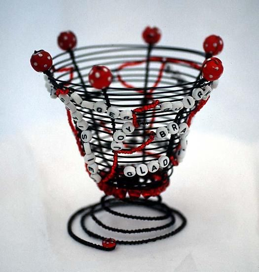 Bundle of Nerves Basket by Sally Prangley: Metal and Beaded Basket available at www.artfulhome.com