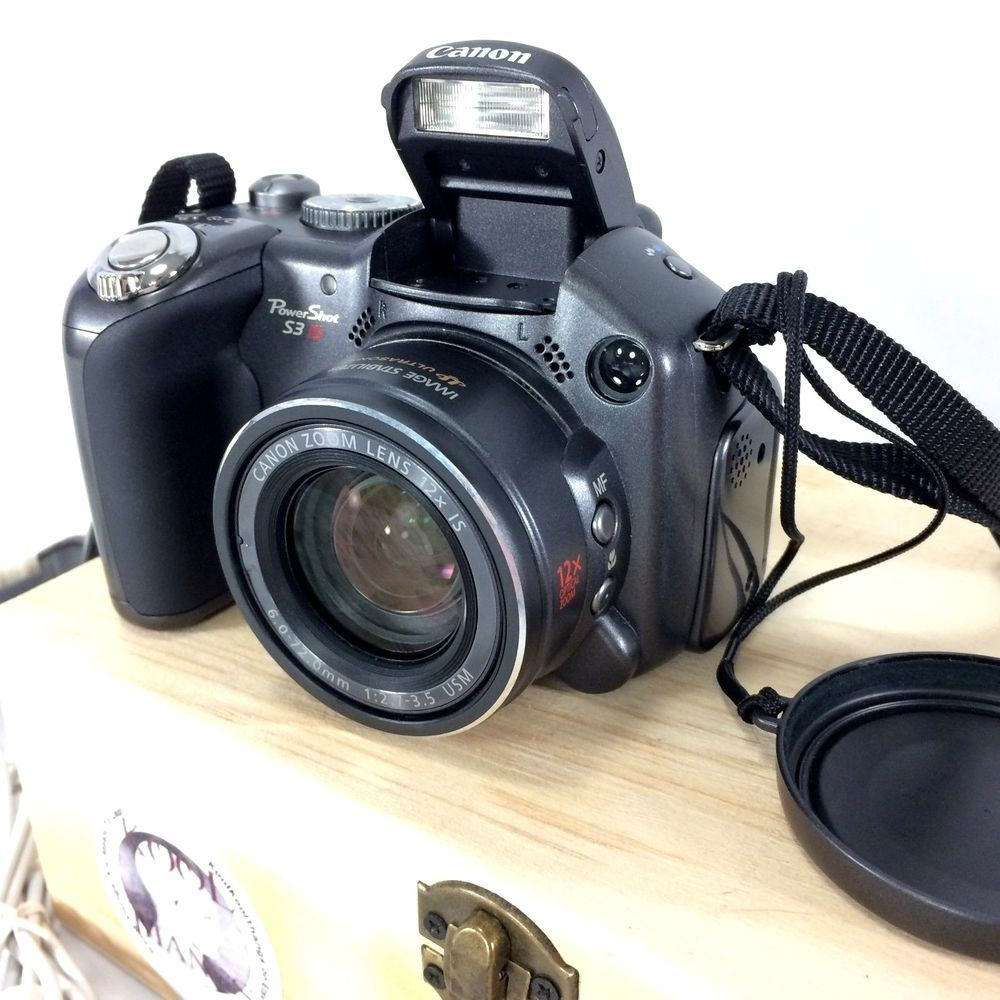 Canon Powershot S3 IS Digital Camera Black With Manuals