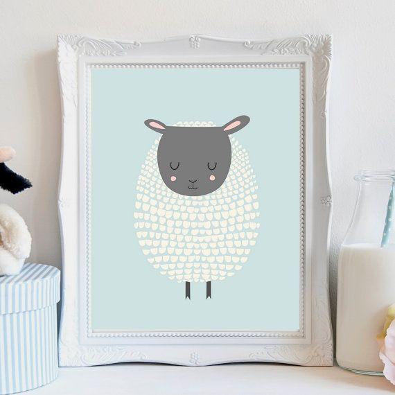 Baby sheep Nursery art, sheep nursery art, Sheep nursery decor, baby ...