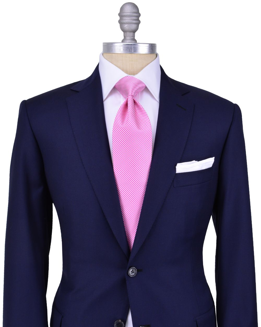 Navy suit and mesmerizing pink tie stanley korshak Blue suit shirt tie combinations