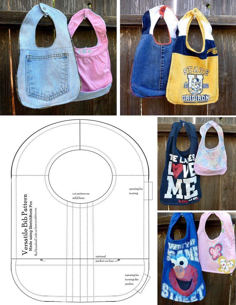 Recycled Clothes Bib With Versatile Pattern | Lätzchen ...