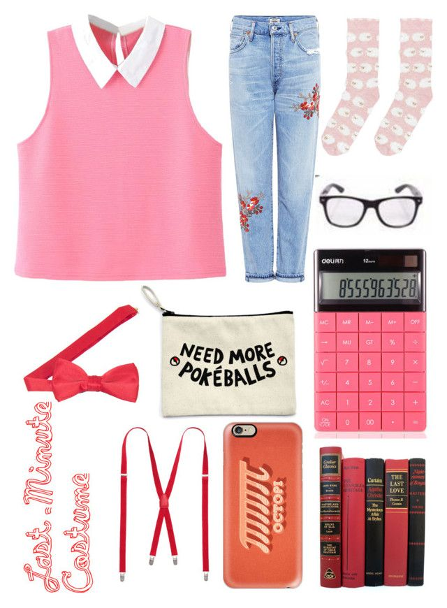 """""""Nerd Alert!"""" by pinkstars6 ❤ liked on Polyvore featuring WithChic, Citizens of Humanity, Accessorize, Casetify, Halloween, nerd, halloweencostume and 60secondstyle"""
