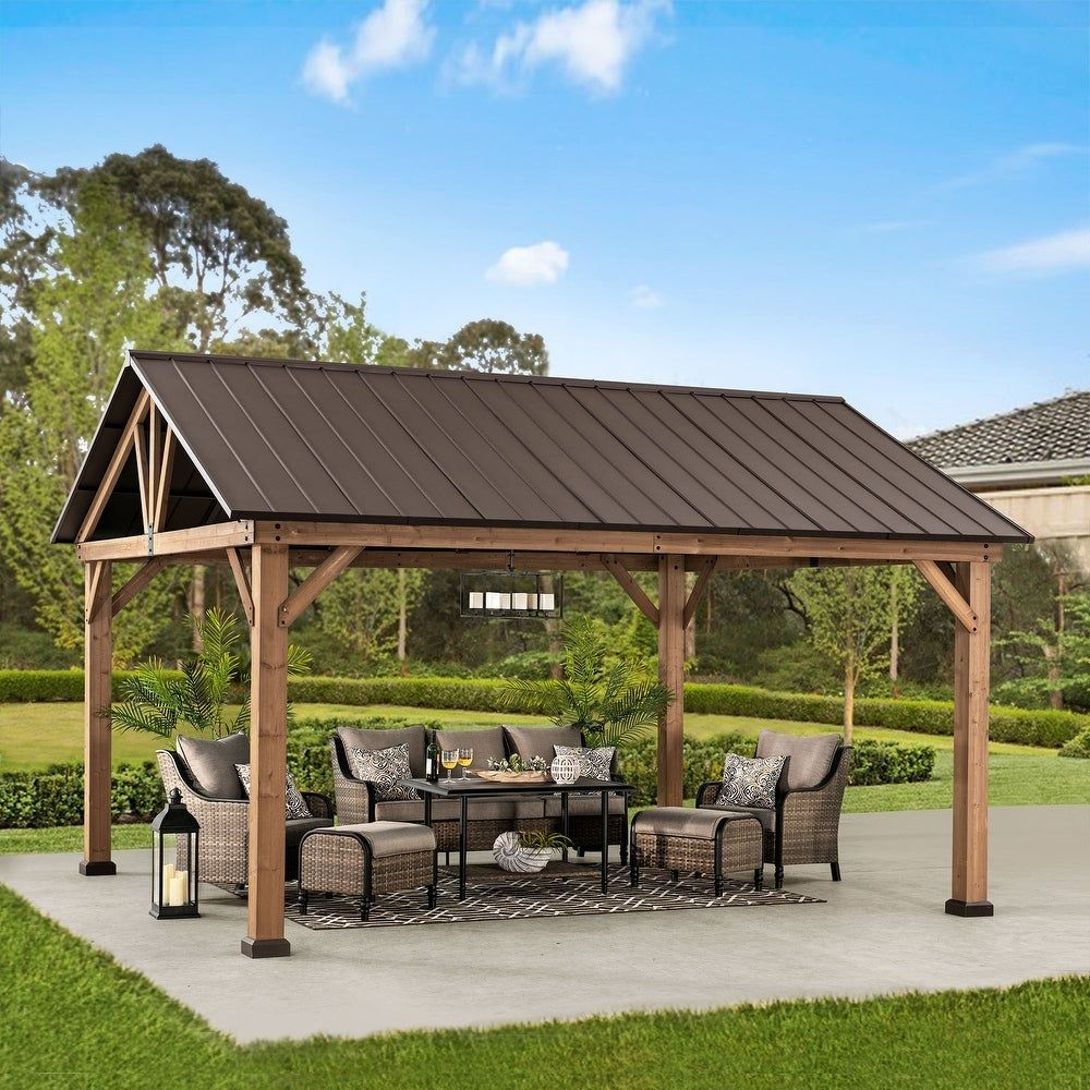 Expand your living space by bringing the indoors outside and creating your end-of-the-day oasis that's the perfect spot for entertaining family and friends. This 12x14-foot gazebo by Sunjoy creates the perfect outdoor setting for any time of the year. Spend all four seasons enjoying a covered spot outdoors under the Cedar wood frame with a sturdy rust-resistant powder-coated steel roof top that will stand the test of time. Features: Cedar wood frame Rust-resistant, powder-coated steel roof top G