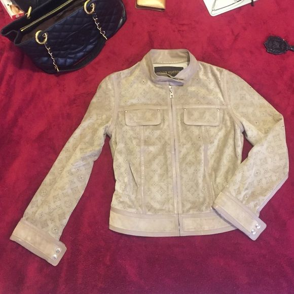 LV Leather Jacket 100% Calf Skin & 100% Silk Louis Vuitton
