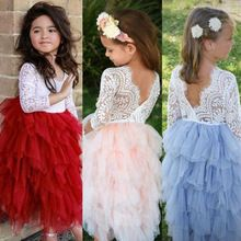 Toddler Kid Baby Girls Clothing Ruffles Cute Lace Dress Long Sleeve Party Tiered Prom Tutu Bridesmaid