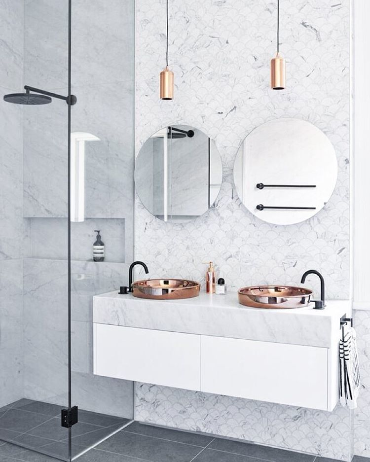 Stunning Marble Bathroom Round Mirrors Twin Vanity Sinks Copper And Lighting Black Hardware Pahlist