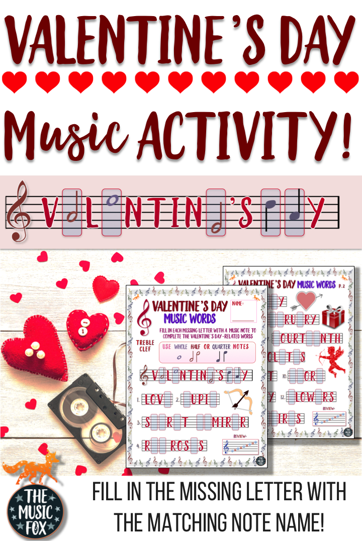 This Valentines Day Music Activity Is A Fun Way For Students To Learn The Note Names On The Music Staff By Drawing In The Missing Letters Of The Musical