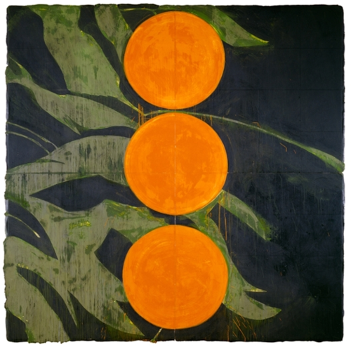 Donald Sultan, oranges on a branch