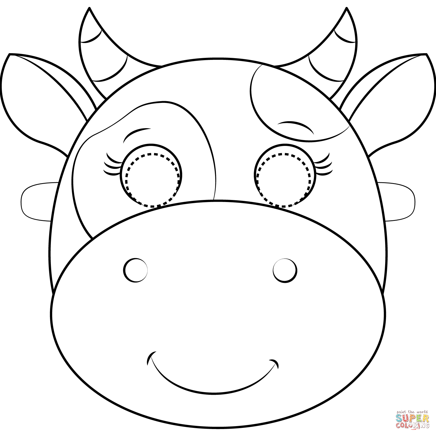 Cow Mask Coloring Page Free Printable Coloring Pages In 2020 Cow Coloring Pages Cow Mask Free Printable Coloring
