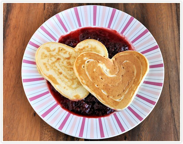 Sweetheart Pancakes with Strawberry Sauce