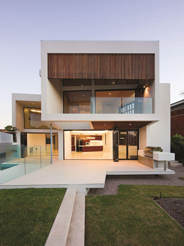 Arquitectura Fachadas De Casas Modernas Casas Modernas: Foto De Fachada De Casa Moderna Con Baranda Y Separadores De Vidrio