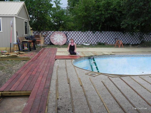 Wood Decking Over Old Concrete Pool Skirt Wood Pool Deck Pool Patio Pool Landscaping