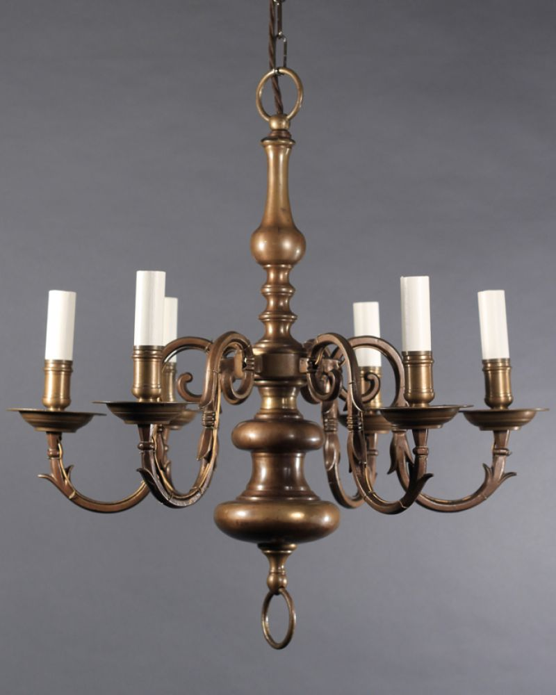 Dutch style Antique brass chandelier with 6 branches, this is a super  fitting and has - Antique Brass Chandeliers Antique Furniture