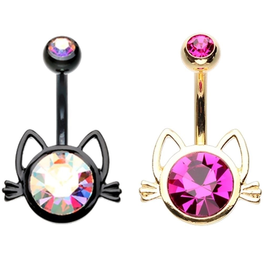 Bubble under belly piercing  Kitty cat face belly button navel piercing jewelry nondangle g