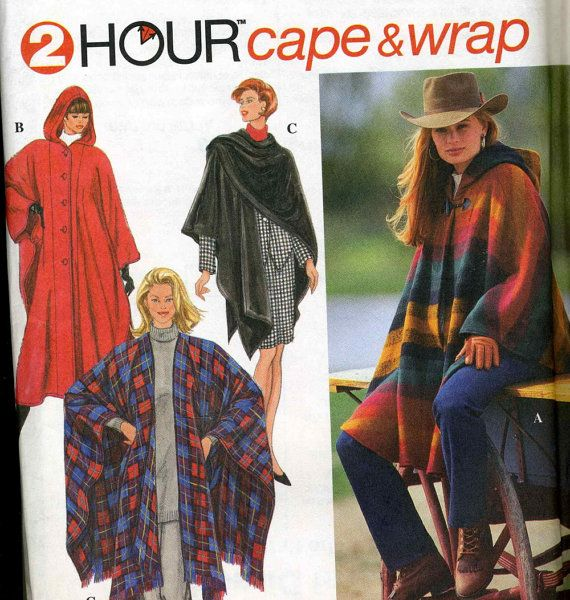 Vintage Simplicity 9223 UNCUT Hooded Cape - Poncho Wrap Coat Sewing ...