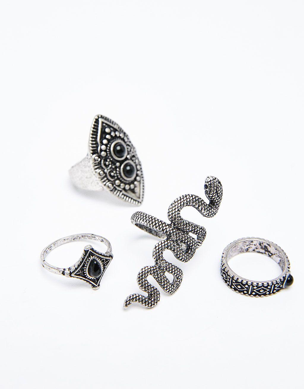 2ad345360e39 Set 4 anillos bohemios serpiente - Novedades - Bershka España Anillos  Bohemios