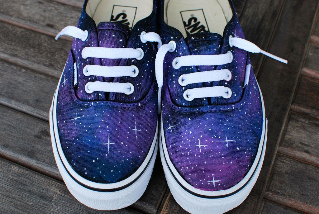 09268b5d45d5 These hand painted galaxy Vans Authentic shoes give you the feeling of  being in Outer Space. Each sta