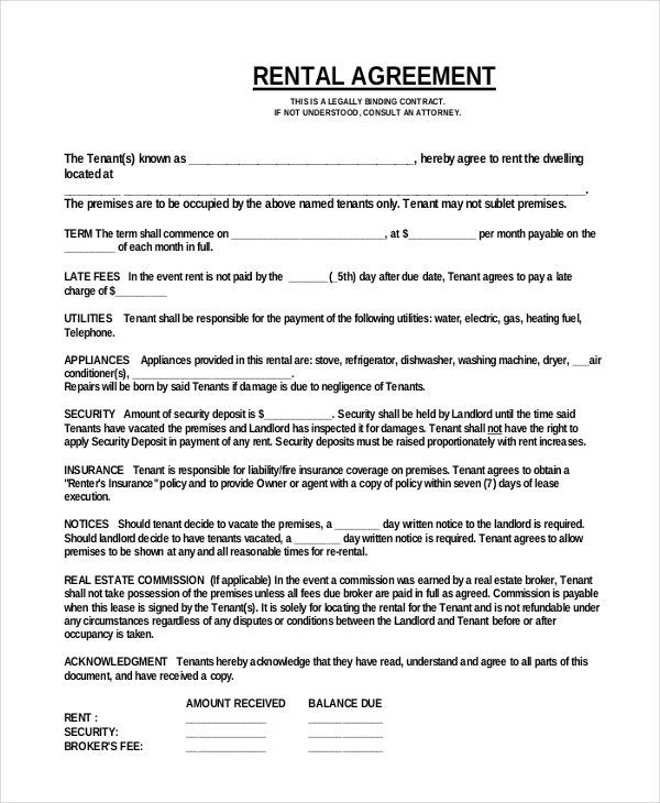 Rental agreement form in word and pdf formats.