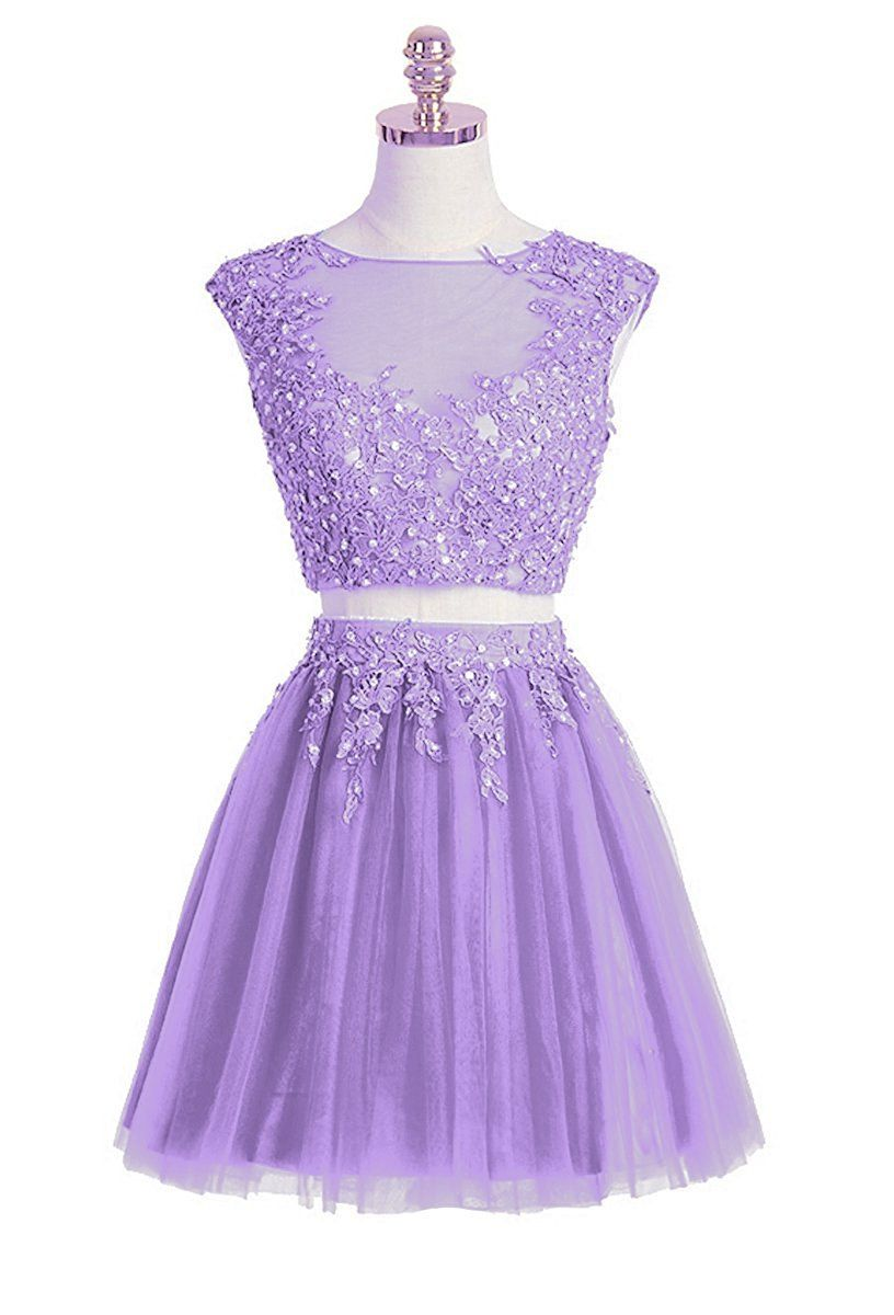 Sexy two pieces lavender lace short homecoming dress cheap short