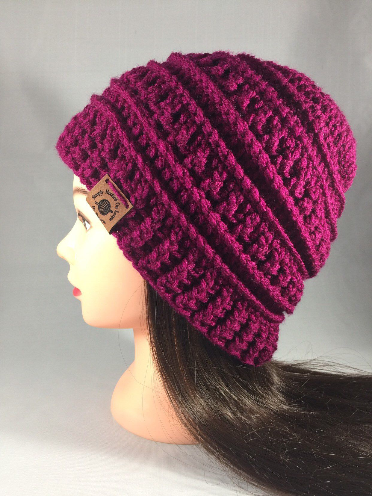 Excited to share this item from my  etsy shop  Raspberry Women s Textured  Hat Beanie Cap Handmade  accessories  hat  beanie  cap  textured  large   pink ... 28e06779dcc