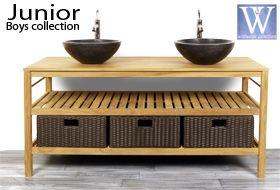 meuble salle de bain en bois pour vasque à poser