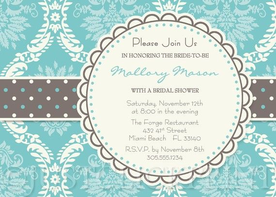 Turquoise Gray Cream Damask Bridal Shower by JustClickPrint, $14.00 very very pretty