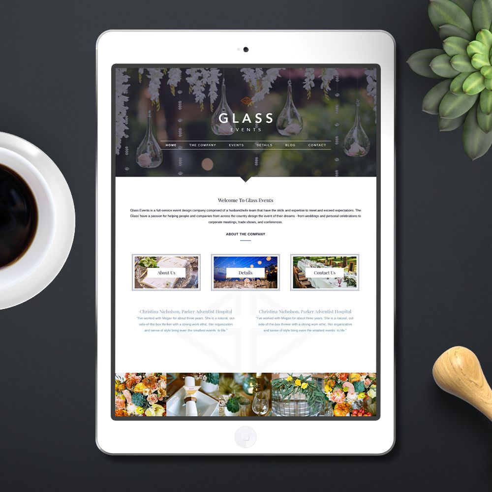 Website Design Glass Events + Brand Design Launch for