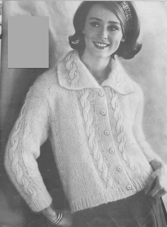 234 PDF Ladies Cardigan Knitting Pattern, Women\'s Mohair Sweater ...