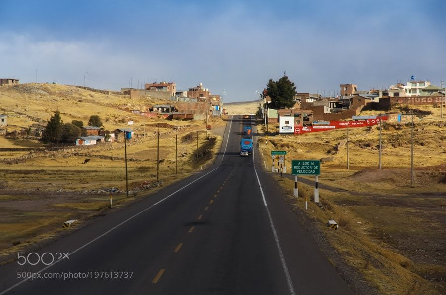 Main road going through the Peruvian altiplano