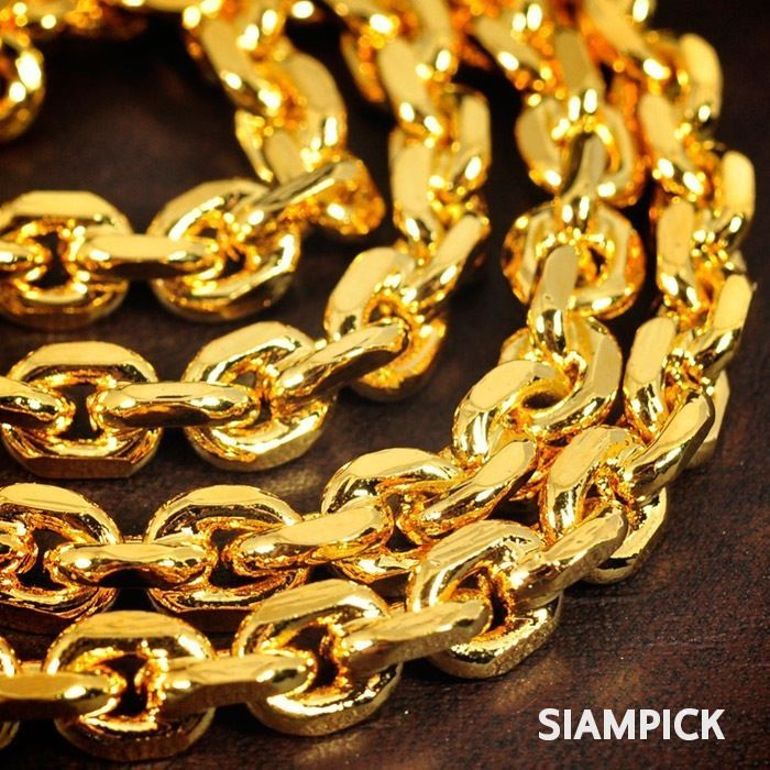 Shiny 24 Inch 24k Thai Jewelry Yellow Gold Plated Anchor Chain Necklace Man Gift