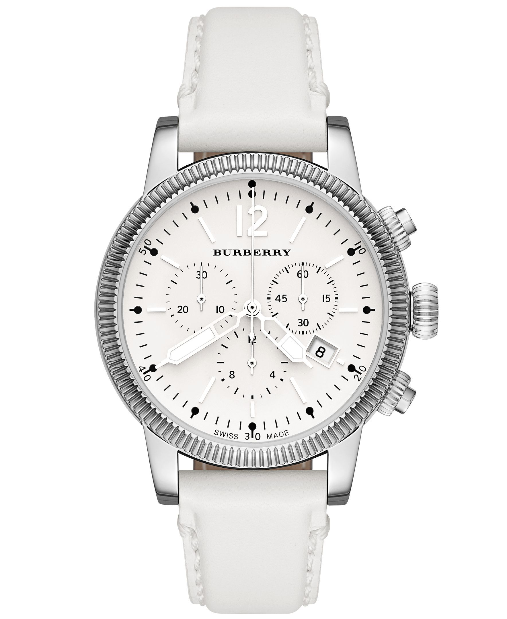 Burberry Watch, Women's Swiss Chronograph White Leather Strap 42mm BU7821