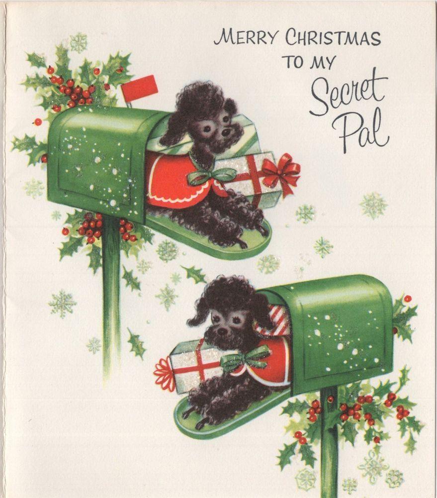 Poodle Puppy Dog Cape Coat Gifts Mailbox Unused Vtg Christmas