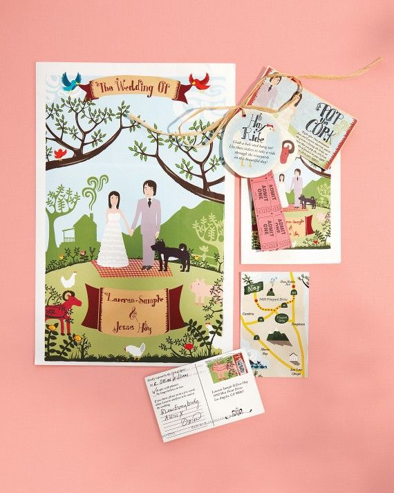 "The groom's bandmate Will Etling designed the folk-art-inspired paper details. The invitation suite ""really set the tone,"" says Jesse. ""Before the wedding, at least 10 people mentioned how cool they were."" An activities packet (top right) kept the theme alive on the big day."