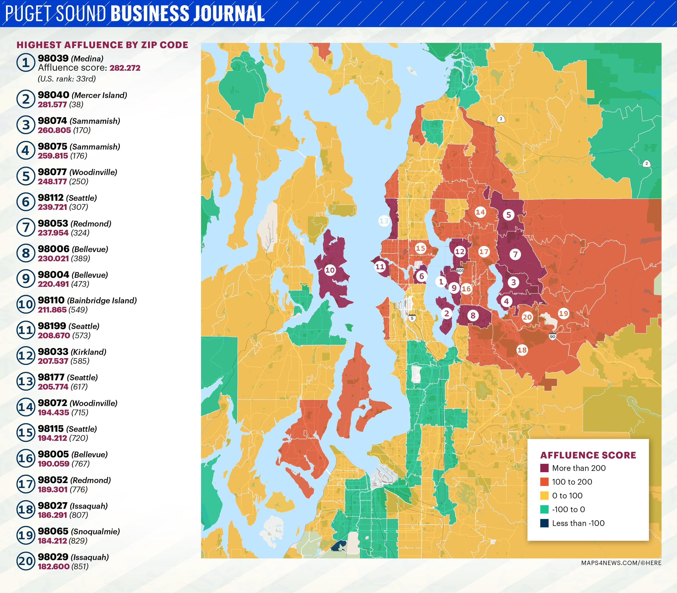 Here are Puget Sound area\'s wealthiest ZIP codes | Bellevue ...