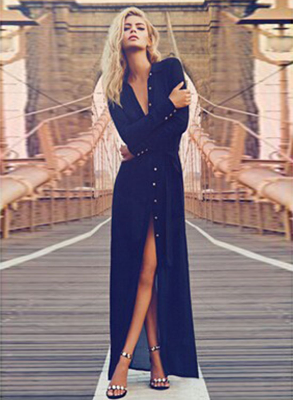 Long sleeve button front high split maxi dress i wanna wear this