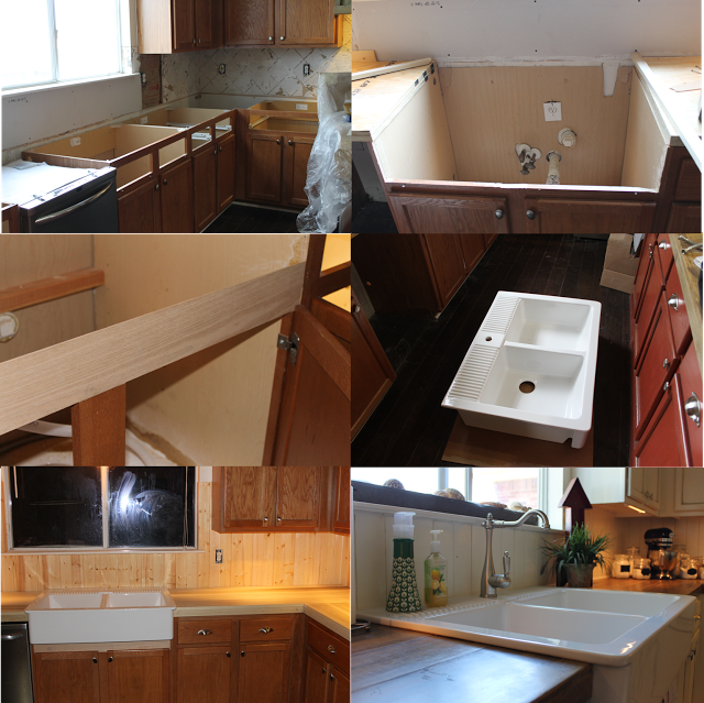 Kitchen Remodel, Installing Farmhouse Sink, Cutting And