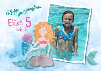 Süße Little Mermaid Einladungskarte Zum 5. Kindergeburtstag Mit Foto  #Meerjungfrau #Unterwasserwelt #Mermaid Party #Wasser #Nixe #Wassermann  #Fisch #Fische ...