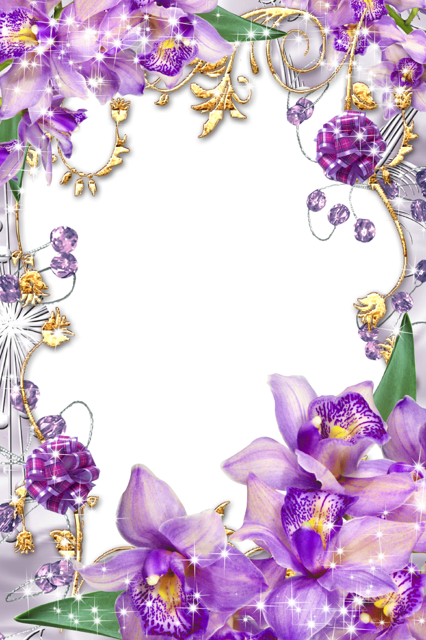 Purple Flower Borders and Frames PurpleFlowersGolden