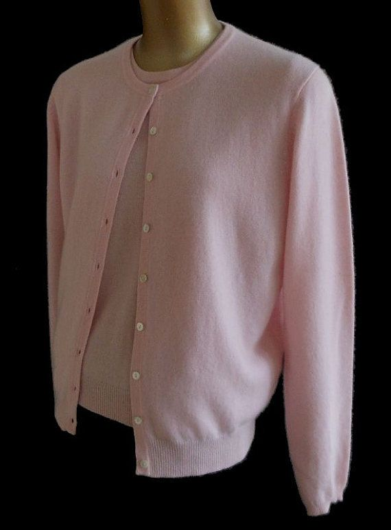 Vintage 90s Cashmere Cardigan Sweater Twinset - 1990s Pink Short ...