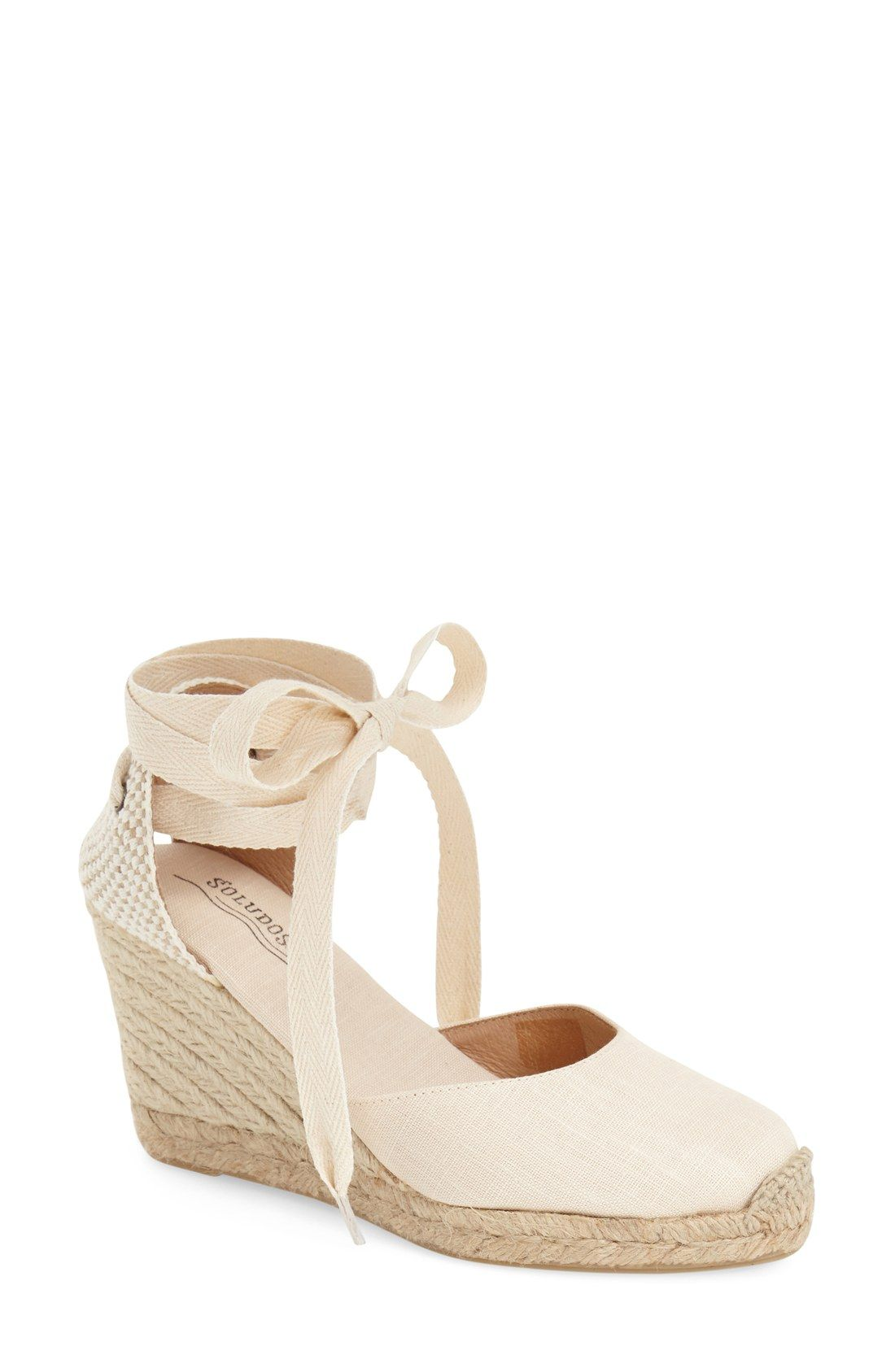 Wedge Lace-Up Espadrille Sandal - WARMTH Tie Wedges - Heels - Shoes Espadrilles, Black Leather And