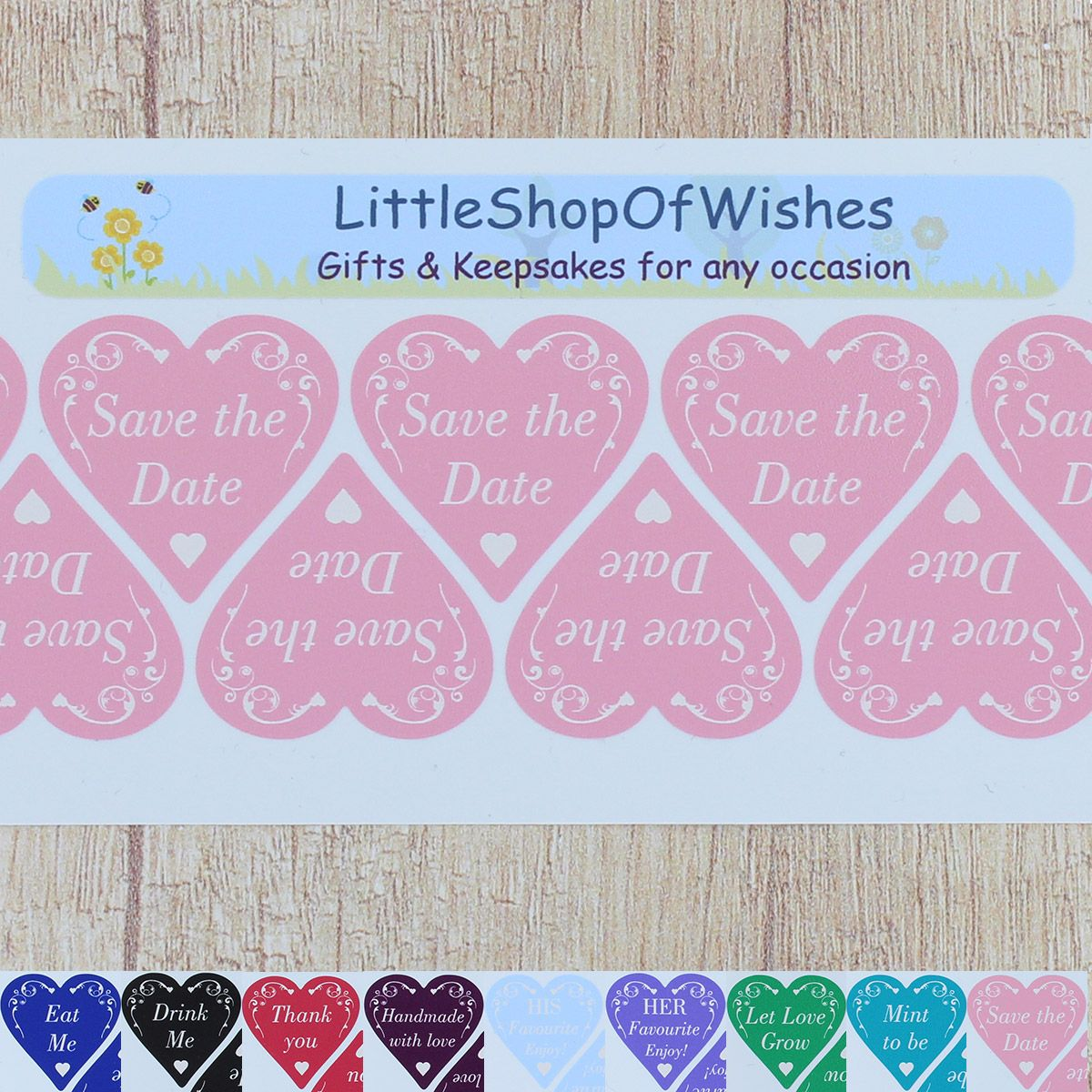 Save the Date Stickers Vinyl Wedding Favours Swirl Love Hearts (Pack ...