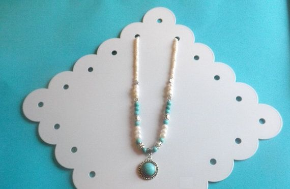 Cultured Freshwater Pearl Turquoise and by TibetanJewelryAccent