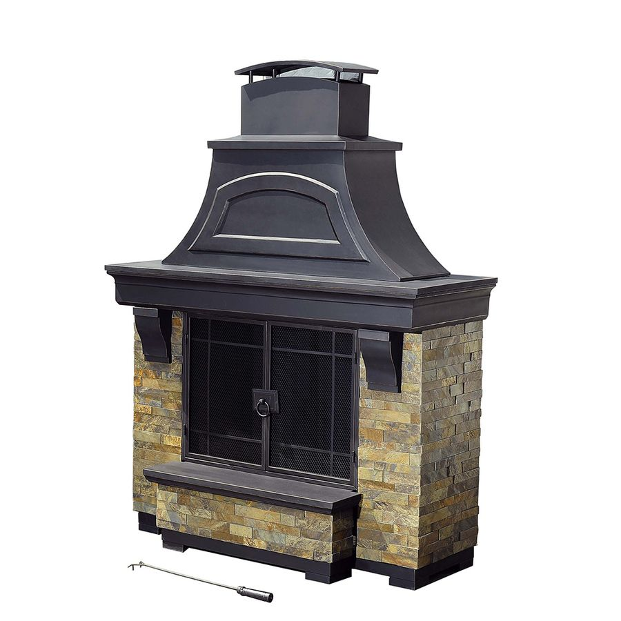 Shop Sunjoy Black Steel Outdoor Wood Burning Fireplace At Lowes
