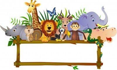 Funny Animal Cartoon And Blank Label Cartoon Zoo Animals Cartoon Animals Free Art Prints